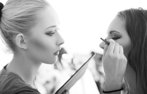 Photo wallpaper makeup, white and black, makeup artist, technical