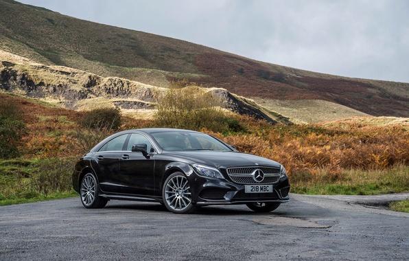 Picture photo, black, tuning, Mercedes-Benz, CLS 350, car, metallic, BlueTec, 2014