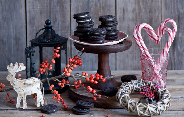 Picture winter, berries, branch, New Year, cookies, Christmas, candy, lollipops, Board, still life, wreath, dessert, holidays, …