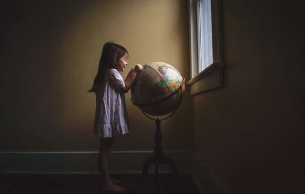 Picture room, window, girl, globe