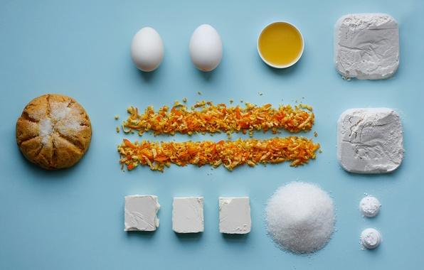 Picture oil, eggs, sugar, flour