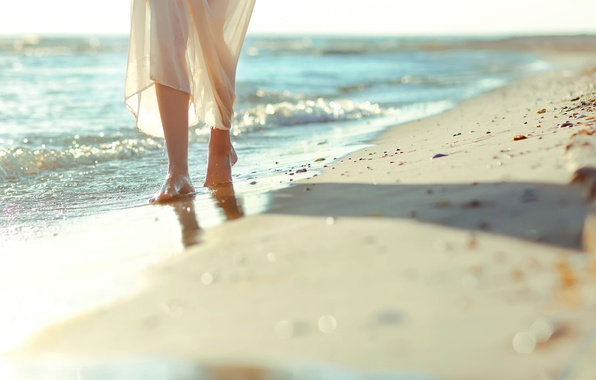 Picture sand, sea, wave, beach, girl, nature, stones, background, Wallpaper, feet, mood, widescreen, pebbles, full screen, …