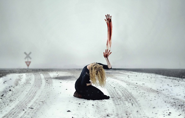 Picture field, girl, snow, sign, blood, hand