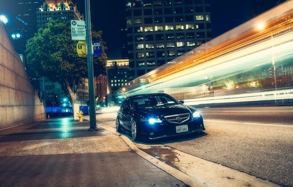 Picture night, the city, street, black, honda, Honda, accord, chord, acura, stance, Acura