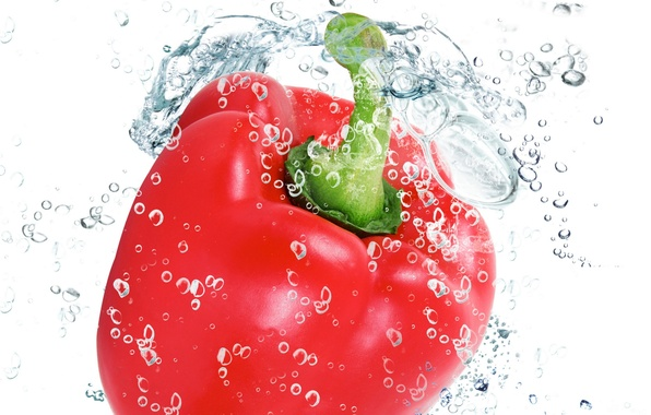 Picture water, drops, squirt, freshness, red, red, pepper, water, drops, vegetable, Bulgarian, paprika, pepper, spray, vegetable, …