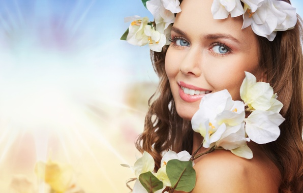 Picture look, girl, flowers, sprig, makeup, brown hair, wreath, manicure