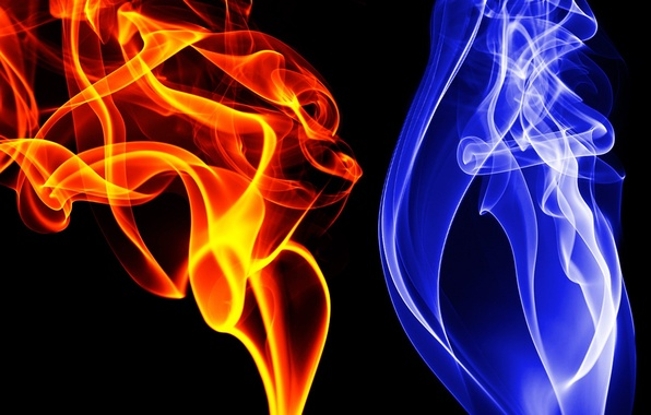 Picture blue, red, color, Smoke