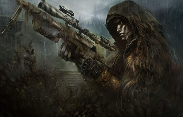 Picture weapons, rain, ambush, soldiers, sniper, camouflage, rifle