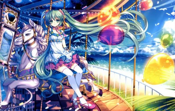 Picture sea, the sky, girl, the sun, clouds, horse, seagulls, art, attraction, Hatsune Miku, Vocaloid, Vocaloid, …