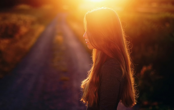 Picture girl, sunset, silhouette, profile, sunlight