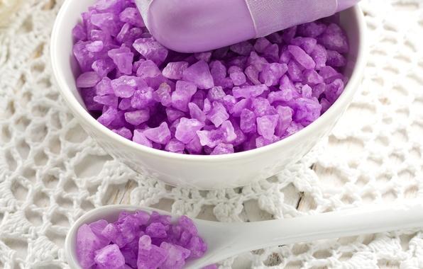 Picture soap, relax, spoon, Cup, bow, soap, lavender, Spa, lavender, spa, salt, natural, bath salt