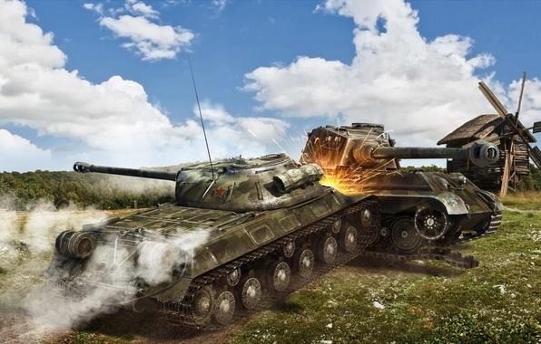 Picture mill, tank, tanks, WoT, World of Tanks, Is-3, Wargaming.net, PzKpfw VIB Tiger II