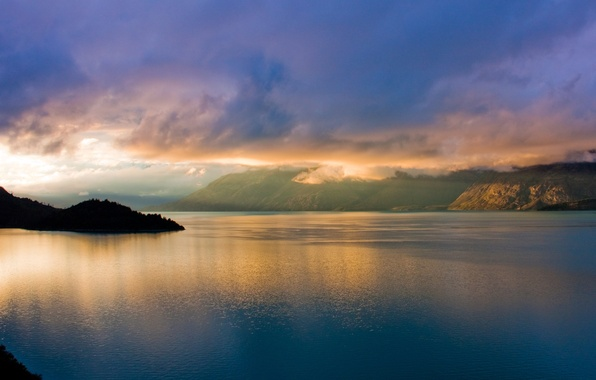 Picture sea, the sky, water, clouds, light, mountains, nature, rocks, morning, Bay, light, Landscape, sky, sea, …