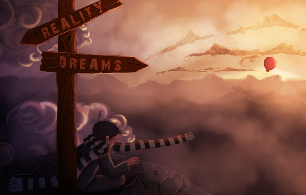 Picture clouds, dreams, stones, rocks, scarf, art, index, choice, reality, a balloon