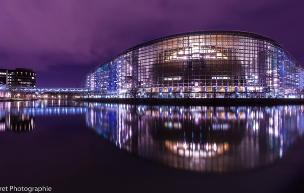Picture reflection, night, the city, lights, France, the evening, backlight, Strasbourg, The European Parliament