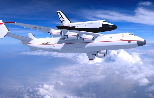 Picture The sky, Clouds, The plane, Day, USSR, Buran, Mriya, Antonov 225, Antonov, Side view, In …