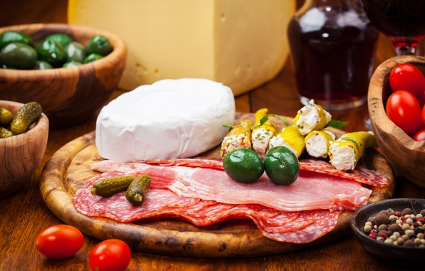 Picture wine, cheese, meat, pepper, tomatoes, olives, sausage, cucumbers, salmon, ham, pickles