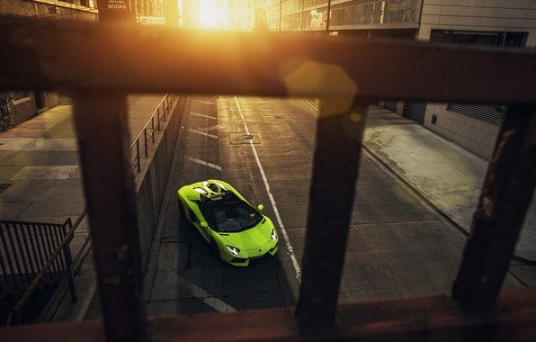 Picture Roadster, Lamborghini, City, Chicago, Green, Front, Sunset, Downtown, LP700-4, Aventador, Supercar