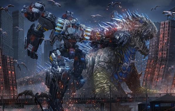 Picture the city, fiction, robot, art, monsters, battle, fight, aliens, megapolis, cyberpunk, giants