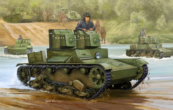 Picture river, shore, art, soldiers, tanks, army, front, armor, light, sample, machine gun, the plan, Red, …