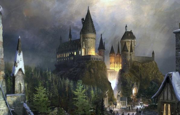 Picture castle, fiction, fantasy, hogwarts, Hogwarts, Harry Potter, Harry Potter