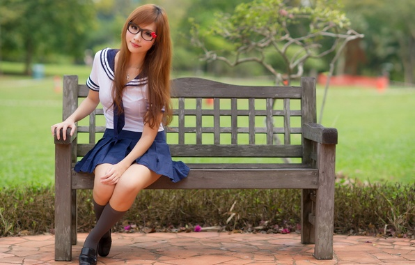 Picture look, girl, Asian, bench