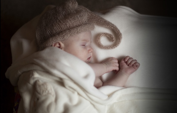 Picture children, hat, sleep, baby, sleeping, blanket, child, baby