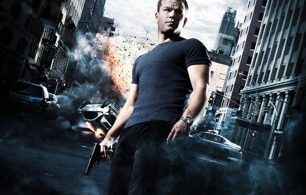 Picture crash, machine, gun, street, agent, poster, Matt Damon, Matt Damon, The Bourne Ultimatum, The Bourne …