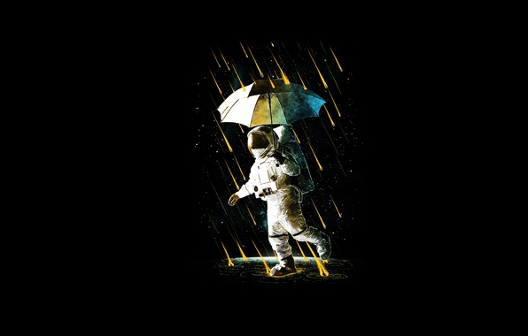 Picture umbrella, rain, costume, astronaut
