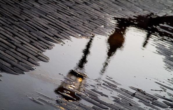 Picture reflection, rain, puddle, lantern, bridge