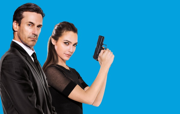 Photo wallpaper costume, action, Jon Hamm, Jon Hamm, pair, Keeping Up with the Joneses, background, Natalie Jones, ...