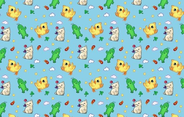 Picture background, mood, texture, cactus, art, kitty, chicken, children's