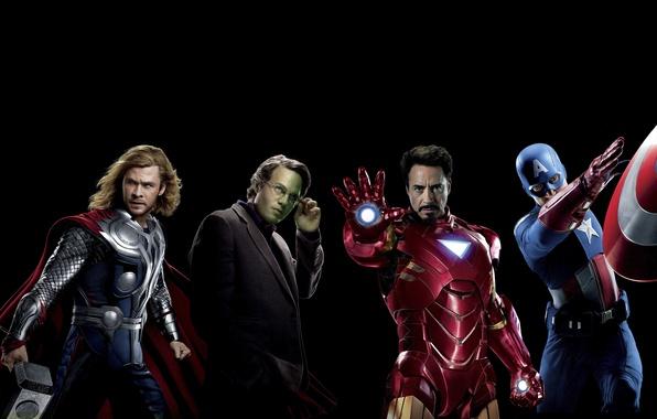 Picture fiction, black background, Hulk, Iron Man, comic, Captain America, superheroes, Thor, Chris Evans, Chris Hemsworth, …