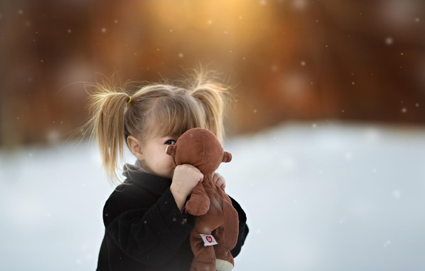 Picture toy, girl, bokeh, tails