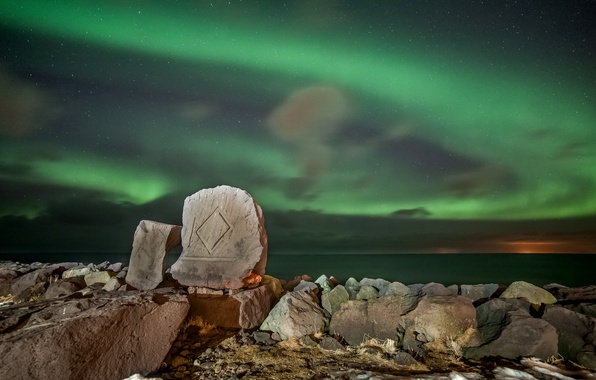 Picture sea, stars, mountains, night, stones, Northern lights