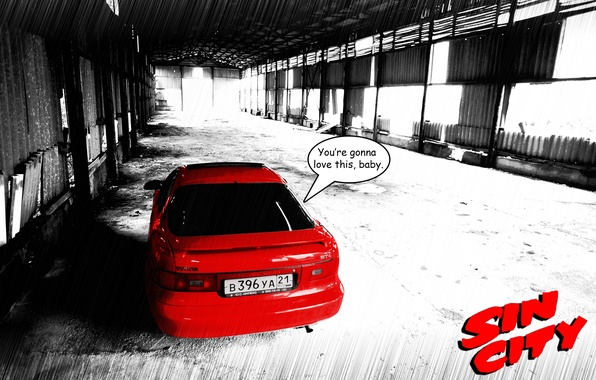 Photo Wallpaper Machine, Sin City, Toyota, Red, Jdm, Toyota, Celica