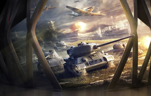 Picture Aircraft, Ships, Tanks, Game, World of Tanks, World of Warplanes, T-34-85, World Of Warship
