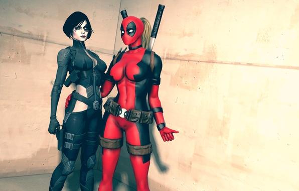 Picture girls, costumes, Marvel Comics, Domino, Neena Thurman, Lady Deadpool