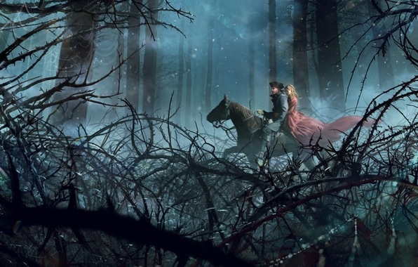 Picture forest, trees, horse, Girl, dress, guy