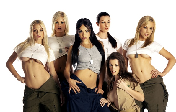 Picture girls, t-shirt, top, blonde, beauty, brunette, overalls