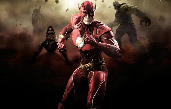 Picture batman, flash, fighting, Harley Quinn, Injustice: Gods Among Us, Solomon Grundy