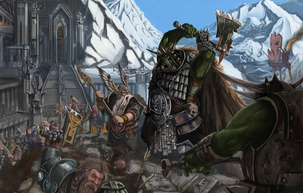 Picture weapons, mountain, stage, fortress, Fantasy, warhammer, warriors, statues, orcs, Battles, dwarves, axe, Thor, attack on …