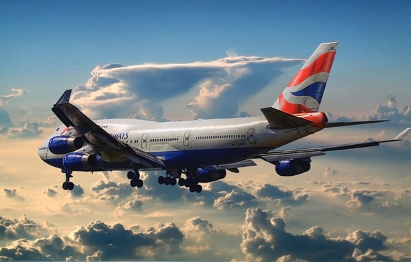 Picture The sky, Clouds, Figure, The plane, Airport, Boeing, Boeing, 747, Passenger, Airliner, British Airways, In …