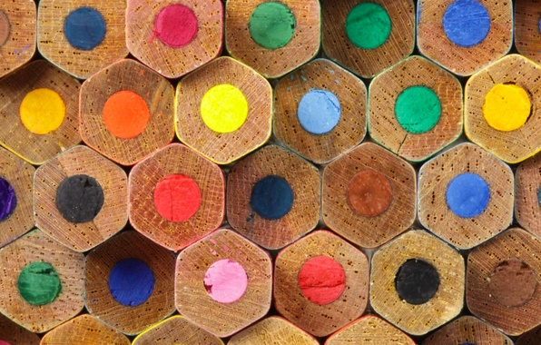 Picture macro, paint, pencils, hexagon, stylus