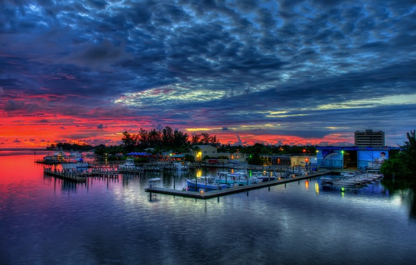 Picture sea, the sky, clouds, landscape, sunset, nature, boats