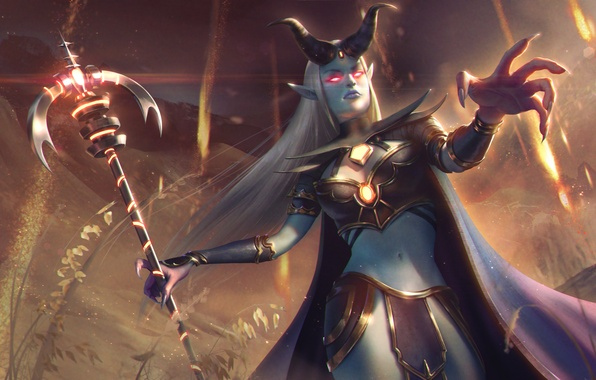 Picture girl, horns, MAG, hon, art, Heroes of Newerth, prophet, Amadea, Prophet of the Damned