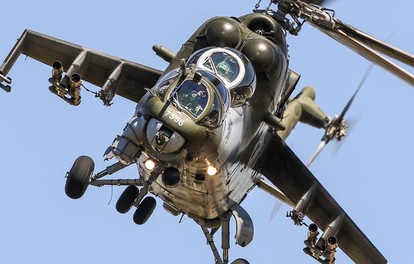Photo wallpaper flight, helicopter, Mi-35, shock