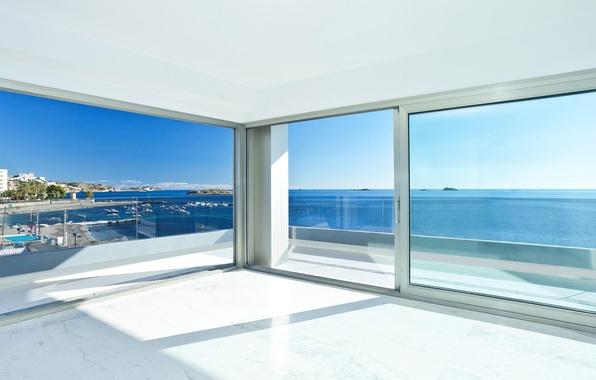 Picture glass, design, house, style, interior, resort, terrace, Ibiza, living space, luxury apartment