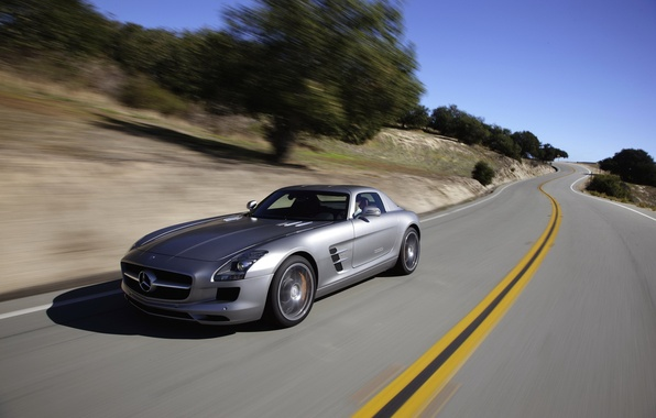 Photo wallpaper road, Mercedes-Benz, speed, beautiful