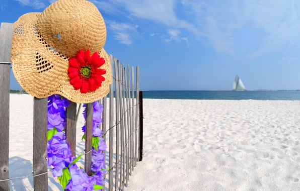 Picture sand, beach, the sky, clouds, landscape, flowers, hat, in the summer, nature